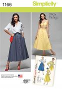 Simplicity Ladies Sewing Pattern 1166 1950's Vintage Style Top, Blouse & Skirt