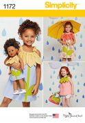 Simplicity Girls & Dolls Clothes Easy Sewing Pattern 1172 Flower Applique Dresses