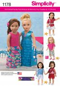 Simplicity Doll Clothes Easy Sewing Pattern 1178 Summer Wardrobe