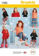 Simplicity Girls Sewing Pattern 1180 Casual Tops, Pants, Shorts & Skirts