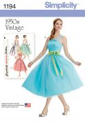 Simplicity Ladies Sewing Pattern 1194 1950's Vintage Style Dress