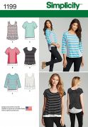 Simplicity Ladies Easy Sewing Pattern 1199 T Shirts & Tops