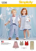 Simplicity Baby & Toddler Sewing Pattern 1206 Dress, Waistcoat, Trousers & Bow Tie