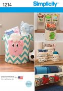 Simplicity Homeware Easy Sewing Pattern 1214 Fabric Baskets & Organisers
