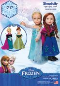 Simplicity Doll Clothes Easy Sewing Pattern 1217 Disney Frozen Elsa Ice Princess Costumes