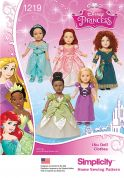 Simplicity Doll Clothes Easy Sewing Pattern 1219 Disney Princess Costumes