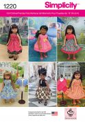 Simplicity Doll Clothes Easy Sewing Pattern 1220 Pretty Dresses