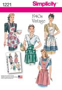 Simplicity Ladies Easy Sewing Pattern 1221 1940s Vintage Style Aprons