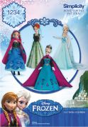 Simplicity Doll Clothes Easy Sewing Pattern 1234 Disney Frozen Elsa Ice Princess Costumes
