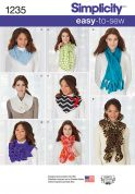 Simplicity Ladies Easy Sewing Pattern 1235 Fashion Scarves