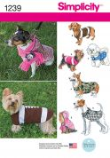Simplicity Pets Easy Sewing Pattern 1239 Dog Coats