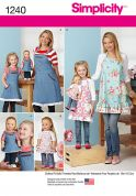 Simplicity Ladies, Girls & Dolls Easy Sewing Pattern 1240 Matching Aprons