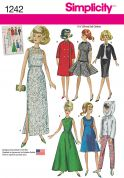 Simplicity Easy Sewing Pattern 1242 Vintage Style Doll Clothes