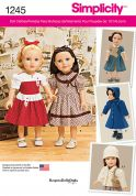 Simplicity Easy Sewing Pattern 1245 Doll Clothes Dresses & Coats