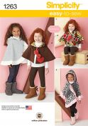 Simplicity Childrens Easy Sewing Pattern 1263 Reversible Capes