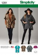 Simplicity Ladies Easy Sewing Pattern 1281 Loose Fit Cape Coats