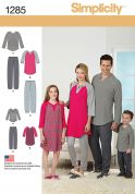 Simplicity Family Easy Sewing Pattern 1285 Casual Pyjamas