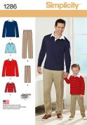 Simplicity Men & Boys Sewing Pattern 1286 Tops & Trouser Pants