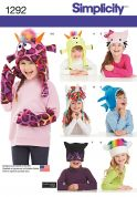 Simplicity Childrens Easy Sewing Pattern 1292 Fun & Novelty Hats