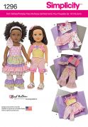 Simplicity Easy Sewing Pattern 1296 Girly Doll Clothes Wardrobe