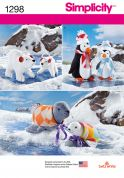 Simplicity Easy Sewing Pattern 1298 Polar Bear, Seal & Penguin Soft Toys