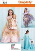 Simplicity Girls & Dolls Sewing Pattern 1305 Matching Princess Dresses