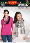 Simplicity Ladies Easy Sewing Pattern 1311 Fashion Scarves
