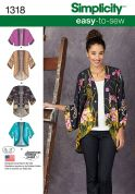 Simplicity Ladies Easy Sewing Pattern 1318 Kimono Style Jackets