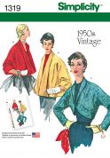 Simplicity Ladies Sewing Pattern 1319 1950s Vintage Style Jackets
