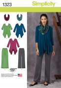 Simplicity Ladies Sewing Pattern 1323 Tops, Pants & Scarf
