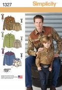 Simplicity Mens & Boys Sewing Pattern 1327 Smart Shirts