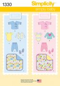 Simplicity Baby Easy Sewing Pattern 1330 Boy & Girl Baby Wardrobe