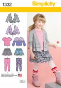 Simplicity Girls Easy Sewing Pattern 1332 Tops, Cardigan, Skirt & Leggings