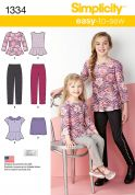 Simplicity Girls Easy Sewing Pattern 1334 Peplum Tops, Pants & Skirt