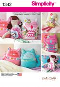 Simplicity Easy Sewing Pattern 1342 Soft Toys Stuffed Dolls & Owls
