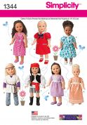Simplicity Easy Sewing Pattern 1344 Doll Clothes Summer Wardrobe