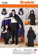 Simplicity Mens & Boys Sewing Pattern 1349 Cape Costumes
