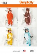 Simplicity Childrens Easy Sewing Pattern 1351 Novelty Animal Onesie Costumes