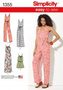 Simplicity Ladies Easy Sewing Pattern 1355 Jumpsuits in 4 Styles