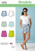 Simplicity Ladies Easy Sewing Pattern 1370 Skorts, Shorts & Skirts