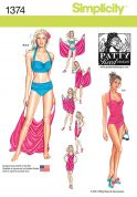 Simplicity Ladies Sewing Pattern 1374 Bikinis, Costumes & Cover Ups
