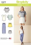 Simplicity Ladies Easy Sewing Pattern 1377 Tops, Pants, Skirts & Shorts