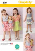 Simplicity Girls & Dolls Easy Sewing Pattern 1379 Matching Dresses
