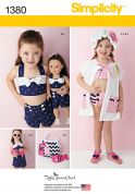 Simplicity Girls Easy Sewing Pattern 1380 Swimwear & Accessories