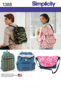 Simplicity Accessories Easy Sewing Pattern 1388 Rucksacks & Bags