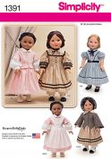 Simplicity Easy Sewing Pattern 1391 Doll Clothes Historical Dresses