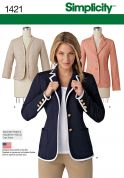 Simplicity Ladies Sewing Pattern 1421 Unlined Fitted Jackets