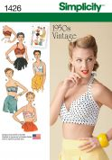Simplicity Ladies Sewing Pattern 1426 Vintage Style 1950s Bra Tops