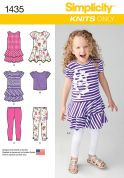 Simplicity Childrens Easy Sewing Pattern 1435 Dresses, Tops & Leggings