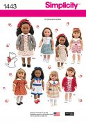 "Simplicity Crafts Sewing Pattern 1443 18"" Doll Clothes"